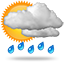 Moderate rain at times, 0010 heavy rain showers