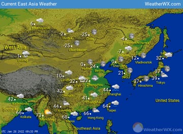 East Asia Weather map