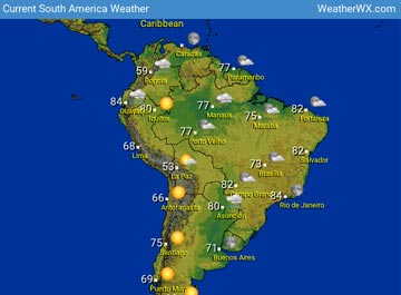 South America Weather map