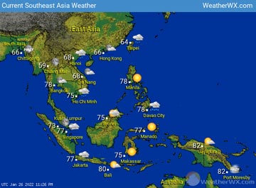 Southeast Asia Weather map