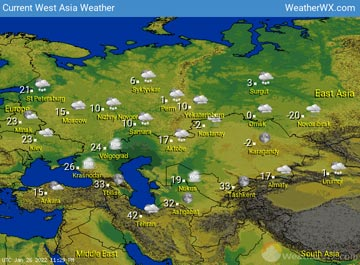West Asia Weather map